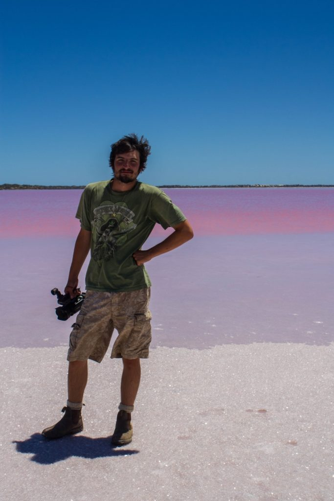 Roaring Earth journalist Teddy Fotiou at the pink lake.