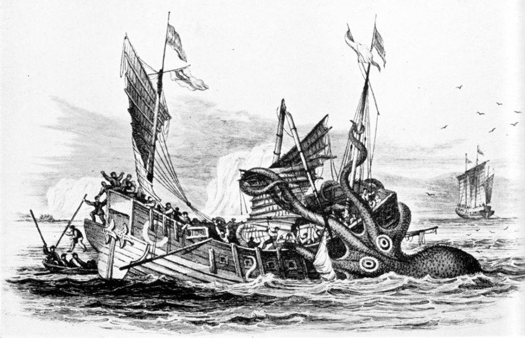 Kraken attack. Illustration by Pierre Denys de Montfort.